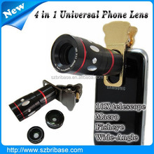 OEM Logo 4 in1 Fish Eye+Wide Angle Micro+Telephoto Lens Camera for mobile phone