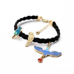 Lovely cute black leather gold bird bracelet, cute blue swallow charms bracelet latest black leather charms bracelet