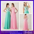 Venta caliente de la nueva llegada de encaje sin espalda top rosa y verde diseño del vestido de noche italiano 2014 (ZX415)
