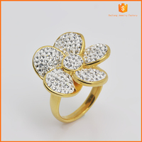 western style stainless steel diamond ring for woman