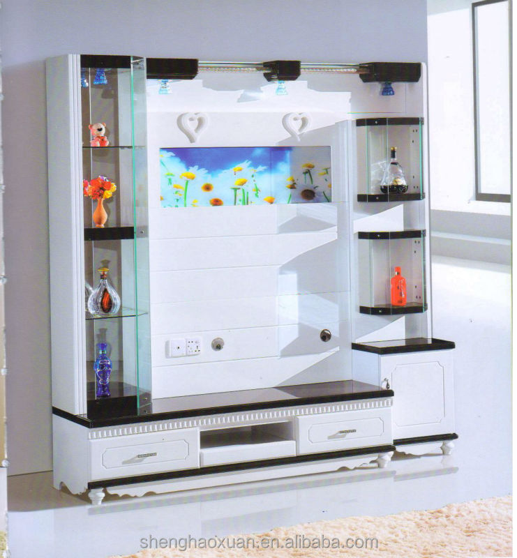 Hot selling home furniture tv hall cabinet living room for Lcd wall unit designs for hall