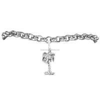 Best Selling Zinc Alloy Rhodium Plated Coconut Palm Tree Charm Chain Bracelet