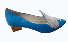 2014 women leather small heel pump shoes