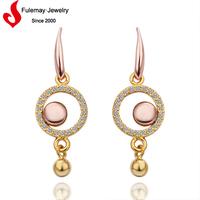 Cute 18k rose gold odd earrings pendants earrings beaded jewelry