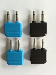 2015 Cheapest Airline Airplane colour headset convertor dual 3.5mm mono to stereo jack adapter
