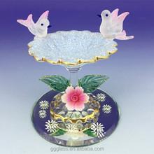 hand blown glass bird bath figurines