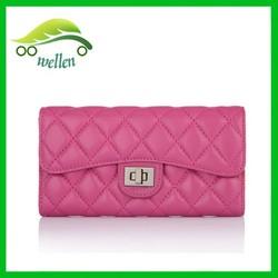 Fragrant rhombic lady party purse square snap women wallet sheepskin ladies purse