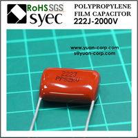 2200pF 2000VDC Radial PPS 222J 2000VDC Metallized Polypropylene Film Capacitor