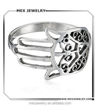 Muslim Religious Hand of Hamsa Protect Filigree 925 Silver Ring