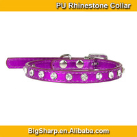 100pcs Wholesale Plating Colors Leather Charm Platinum Rhinestone Collar PU Crystal Jewels Small Dog Cat Collars PC3012