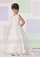 S1283 Lovely appliqued ribbon tulle girl flower fancy dress competition