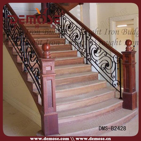 Residential wrought iron stair railing balustrade grill - Barandas para escaleras de interior ...