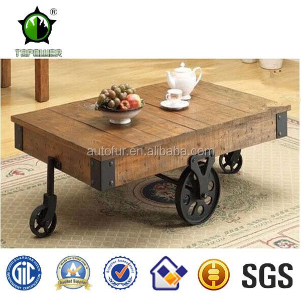 r tro bois table basse avec roues remorque de table pays style facile d placer tables en. Black Bedroom Furniture Sets. Home Design Ideas