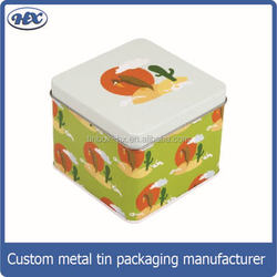 Square Food Grade Empty Tea Can/tea tin box/tin container for tea tin