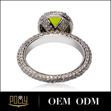 Pave CZ stone center olivino diamond anillo de bodas