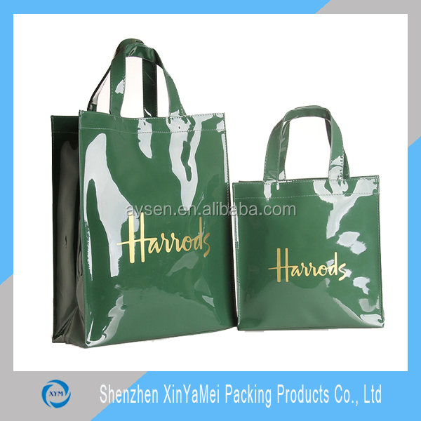 shiny Fashion Shopper Tote harrod customized bag PVC High quality