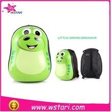 New Arrived ABS eggshell school bag Little Green Dimosaur for kids animal backpack with light