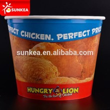Disposable paper grease proof bucket for hot fried chicken