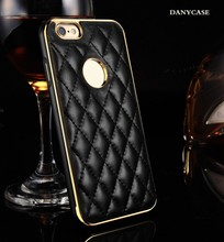 metalik new fashion for iphone6 leather phone case +aluminum bumper