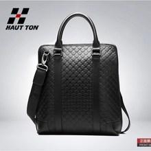 Men's black printed pattern leather handbag messenger shoulder bag small bag