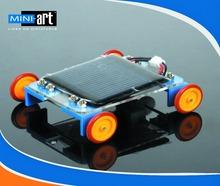 DIY model assembly Production Technology Solar electric hybrid car yellow wheels car No.6