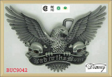BUC9042 Bad to the Bone Silver Plated Eagle western cowboy belt buckle