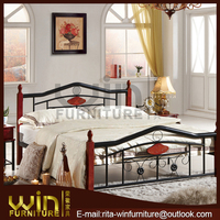 2014 new metal double bed with wood post DB-0905