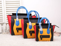 High-end quality multi color fashion tote bags ladies smile bags new