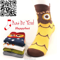 2015 girls fashion cute owl animal cartoon socks school style combed cotton thin socks wholesale