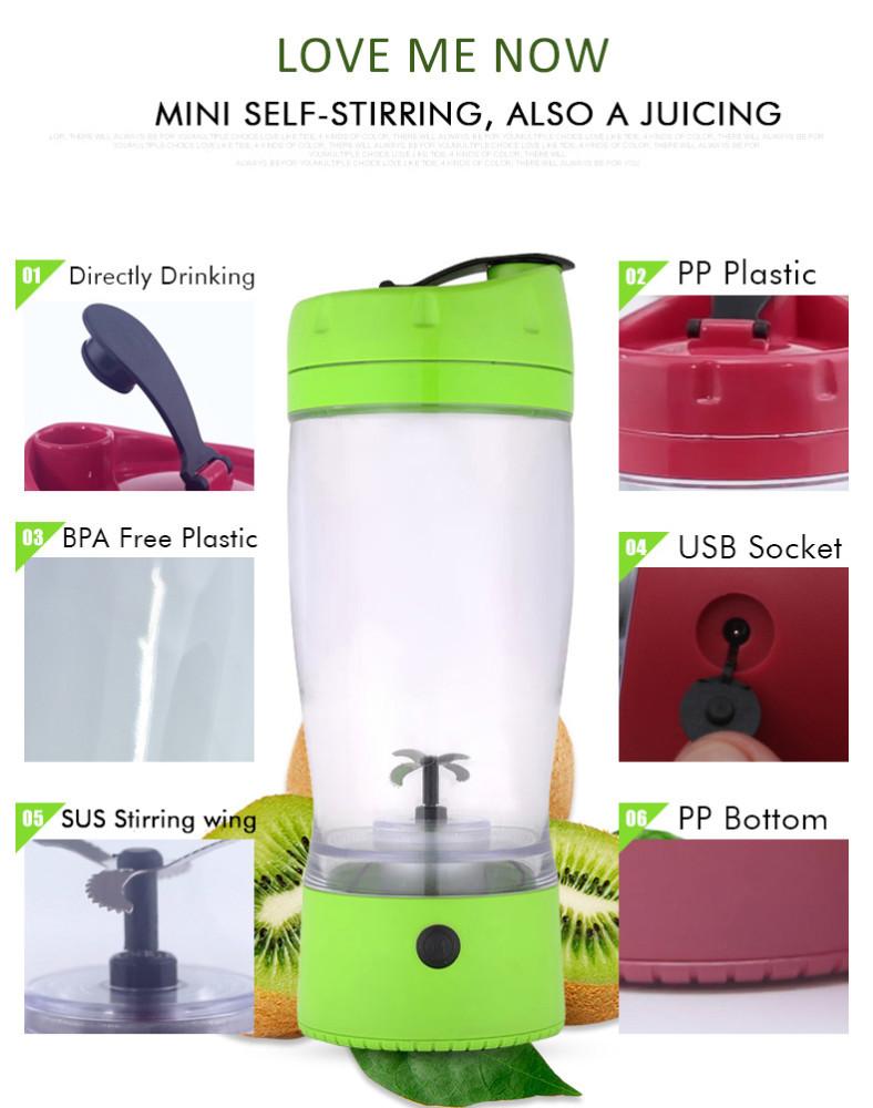 FDA Aprovado 600 ml Unbreakable impressão do logotipo shake Mixer Garrafa de plástico, bateria powded Mixer Garrafa
