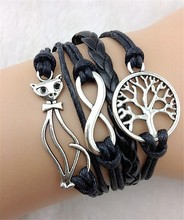 European and American retro punk cat 8 word leaves strands of rope weaving fashion beautiful leather bracelet