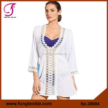 38004 New Arrival Summer Embroidery Cotton Beach Kaftans For Woman