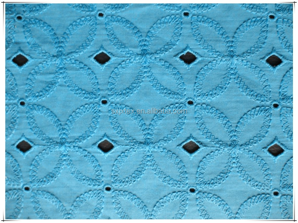 Jx s cotton thread eyelet embroidery fabric for