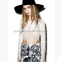 Newest style fashion lace coat Sexy lace long-sleeved lace shirt blouse women