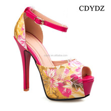CDYDZ Y129 European and American fashion sexy hot red fashion ladies high heel waterproof flower print summer sandals 215