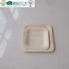 Natural bamboo square disposable plate set
