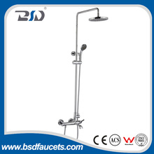 Luxury Nickel Brushed Rain Shower Faucet Set Tub Mixer Tap Spout W/ Hand Shower