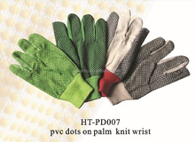 canvas dots gloves/ PVC coated canvas gloves/ green, black, white canvas gloves with pvc dots