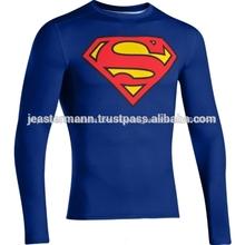 De manga larga de superman logo impreso camisa de compresión- camisa de superman