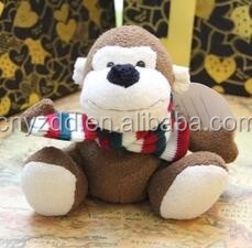 2016 hot saleing plush monkey with scarf/monkey pillow with scarf