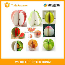 Onzing good quality peach shaped fruit sticky notes for promotional gift