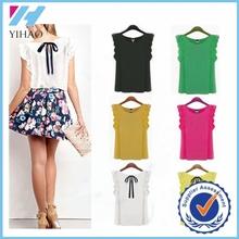 Bulk popular womens chiffon t-shirt plain lace sleeve t-shirt for summer wear