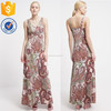 High qualtiy floral print ladies leisure dresses long V-neck sexy women maxi dress