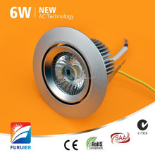 rotable dimmable 5w 6w high quality warm white 2700k ac cob led downlight for hotel party living room