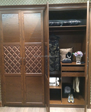 High end solid wood with leather wardrobe in shaking style