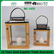 Exclusive Wood lantern with stainless steel top for best price ML-1435 set of 2