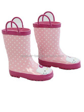 Pink hello kitty rain shoes for little girls kids rubber rain boots with handles