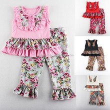 2015 hottest sale kids clothing sets floral printed girls outfit ,spring girls ruffle set