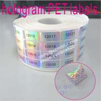 Accept custom order and make PET mateial security void holographic stickers,custom water proof tamper hologram PET sticker label