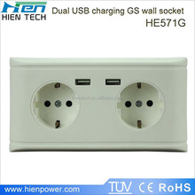2014 hot selling products in Europe EU USB wall socket with 2 USB ports for mobile phone charging